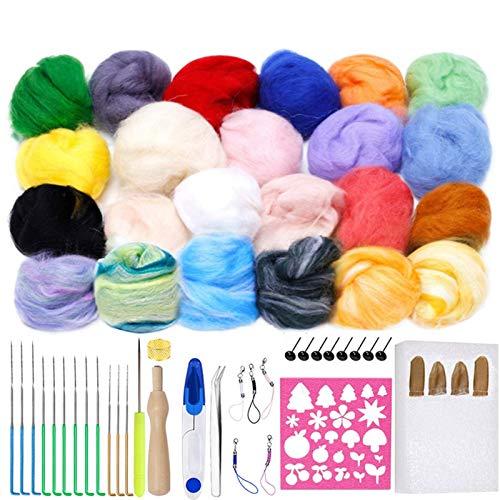 AFANGMQ 24 Colores Lana Felting Kit de Agujas de Espuma Estera de Espuma Arte Hilado de Fibra Tela Roving DIY Spinning Molde de Costura Accesorios de Costura Suministros de Felting