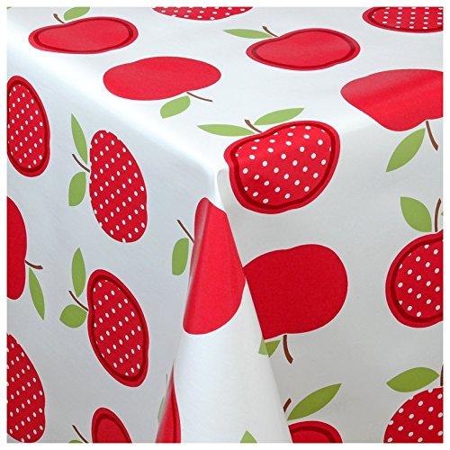 Wachstischdecke Wachstuch Tischdecke Gartentischdecke abwaschbar eckig 140x140 cm Äpfel Motiv Rot