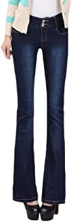 Women High Rise Jeans Bell Bottom Stretchy Plus Size Skinny Jeans