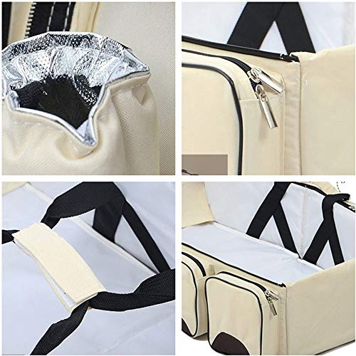 3 in 1 Wickeltaschen für Babys, Multifunktional tragbar Baby-Reisebett Krippe Wickeltasche Faltbar Tragetasche für 0-12 Monate, Dunkelblau - 5