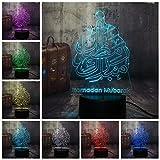 HLDWMX Illusion-Nachtlicht 3D, LED-Schreibtisch-Lampen,Schlaf leicht Fernbedienung 7 Farben...