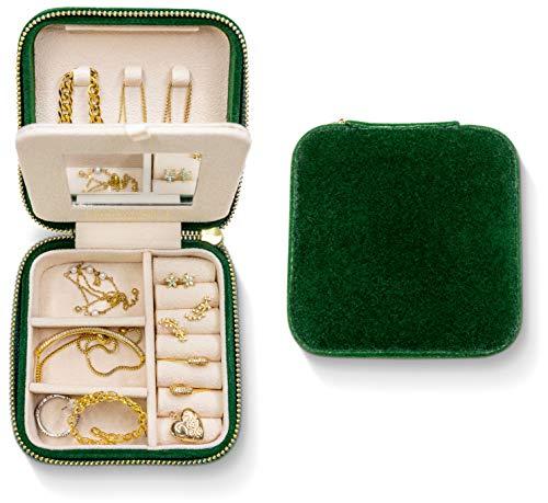 Plush Velvet Travel Jewelry Box Organizer | Travel Jewelry Organizer Box | Travel Jewelry Case | Small Jewelry Box for Women | Jewelry Travel Case | Earring Organizer Box with Mirror - Emerald Velvet