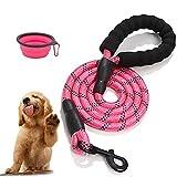 Correa para perros de 1,5 m, resistente correa para perros con cómodo mango acolchado y hilos altamente reflectantes, cuerda para todos los perros de talla (rosa)