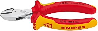 Knipex Tools  73 06 160 SB X-Cut Compact Box Joint Diagonal Cutter 1000V Insulated Handle, Red/Yellow