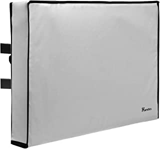 """Garnetics Outdoor TV Cover 70""""-75"""" inch - Universal Weatherproof Protector for Flat Screen TVs - Fits Most TV Mounts and Stands - Grey"""