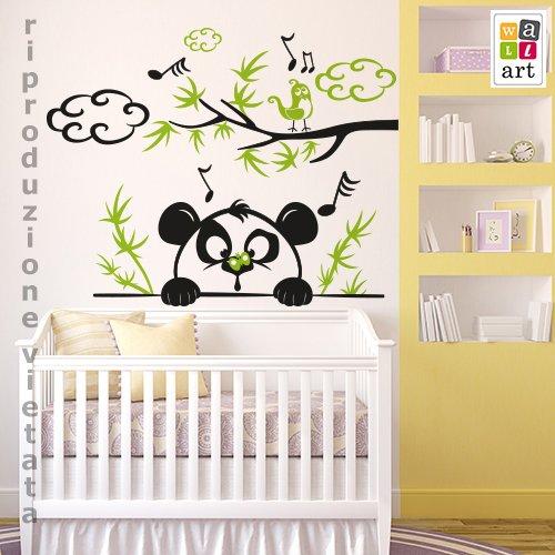 wall art Sticker Mural pour Enfants Petit Panda Curieux – Dimensions 120 x 95 cm – Décoration Murale, Autocollants pour Mur, Papier Peint