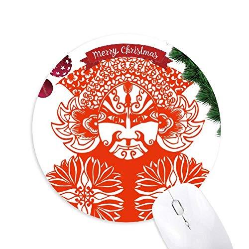 Rote Gesichtsmaske Peking Opera Papier geschnitten Rund Gummi Maus Pad Weihnachtsbaum Mat