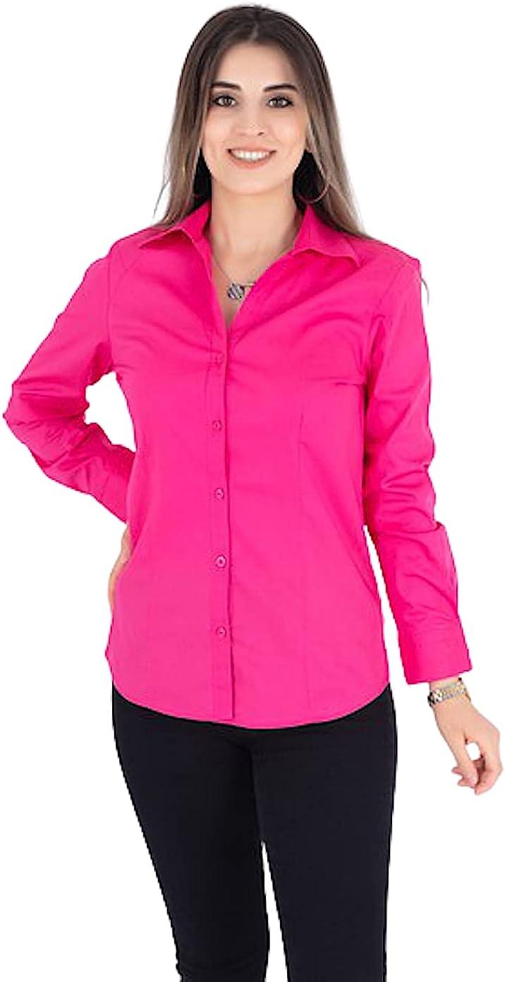 Women's 100% Organic Cotton Button-Down Shirt Classic Long Sleeve Dress Shirt