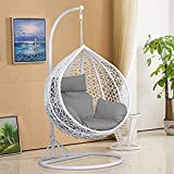 Harrier Hanging Egg Chair Swing – 2 Sizes | Indoor Outdoor Patio <span class='highlight'>Garden</span> Chair – Freestanding <span class='highlight'>Rattan</span> Egg Chair With Stand (<span class='highlight'>Single</span> Seat   Tailored Cover, White/Grey)