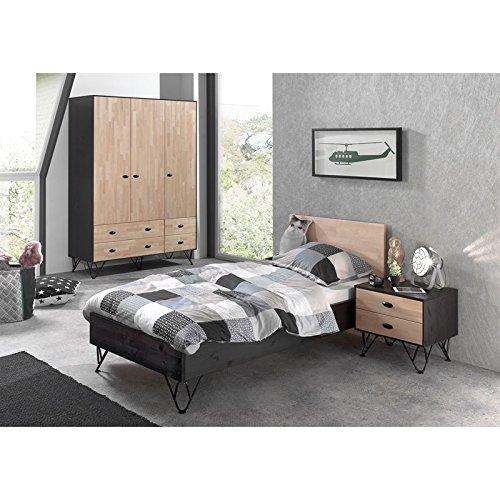 Lomadox Jugendzimmer Set massiv schwarz, Birke natur lackiert, 90x200 cm Jugendbett mit Nachttisch und 150cm Kleiderschrank 3-trg