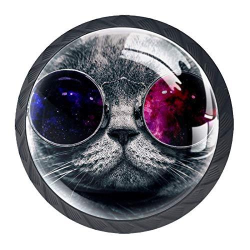Pomo para gabinete Gafas de sol de gato tirador para muebles plástico tirador para puerta tirador juego color para cuarto de niños jardín de infantes con tornillos 4 piezas 3.5×2.8CM