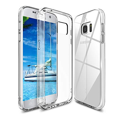 Whew Samsung Galaxy S7 Hülle, HD Transparent Anti-Gelb Hard PC Back & Soft Silikon Hybrid Handyhülle, Kratzfest Durchsichtige Schutzhülle Ultradünn Case für Samsung Galaxy S7 - Crystal Clear