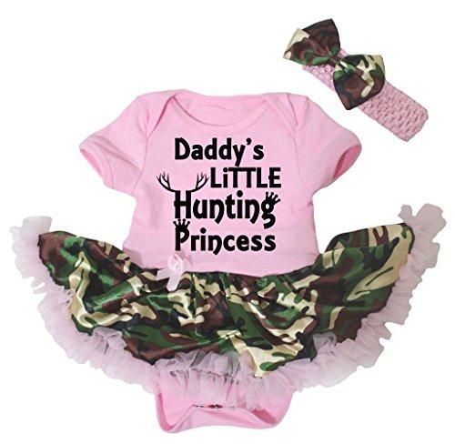 Petitebella Daddy's Little Hunting Princess Pink Bodysuit Camouflage Tutu Nb-18m (6-12 Months)