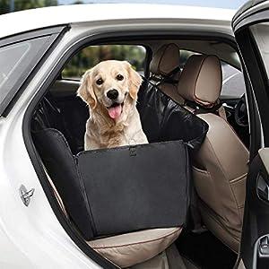 Tech Traders - Funda para asiento de perro, color negro, resistente al agua y a prueba de arañazos, tamaño universal para todos los coches, camiones y SUV