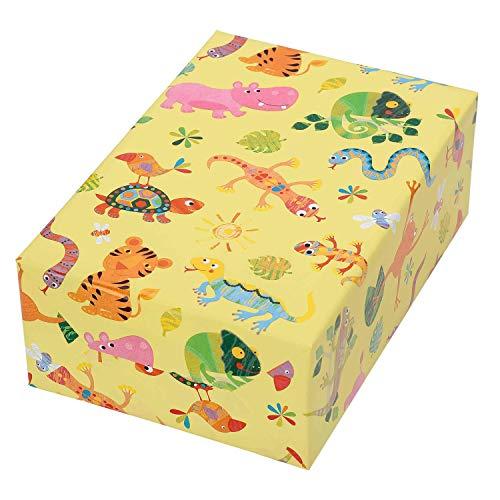 Geschenkpapier Kinder, 3 Rollen, Motiv Fantasia, bunt glänzendes Tier Design auf gelbem Mattfond. Ein Star auf jedem Kindergeburtstag.