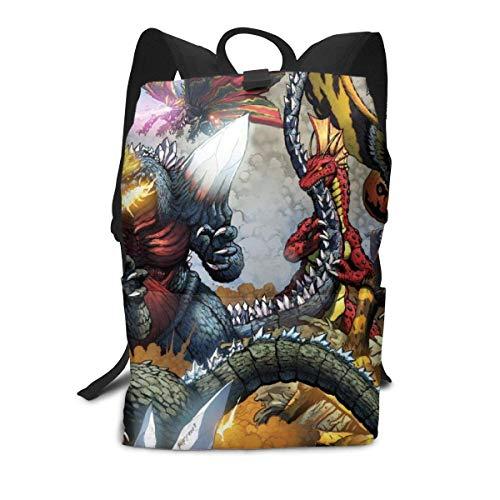 Kinder Schüler 15-Zoll-Schultasche Laptop-Rucksack, Godzilla Herrscher der Erde drucken lässig benutzerdefinierte leichte große Kapazität Büchertaschen Daypack Umhängetasche für Jungen Mädchen