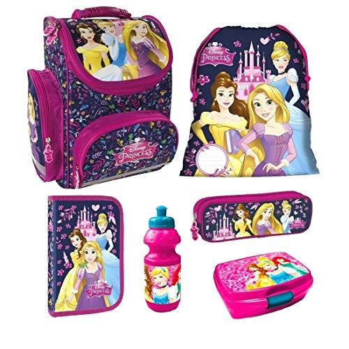 Disney Princess Prinzessin 6 Teile Set Schulranzen RANZEN FEDERMAPPE TORNISTER Tasche inklusive Sticker von Kids4shop Federmappe