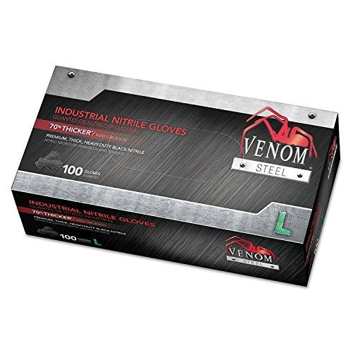 Venom Steel Industrial Nitrile Gloves, Powder-Free, Large, Black, Box of 100