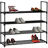 MULSHシューズラック 下駄箱 シューズラックタワー 靴箱 靴棚 玄関収納 収納ラック 4段 幅90.4×奥行30.5×高さ84.5cm MLS-4T (ブラック)