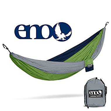 ENO Eagles Nest Outfitters - DoubleNest Hammock, The Original Portable Outdoor Camping Hammock for Two, Special Edition Colors, Grey/Green/Blue