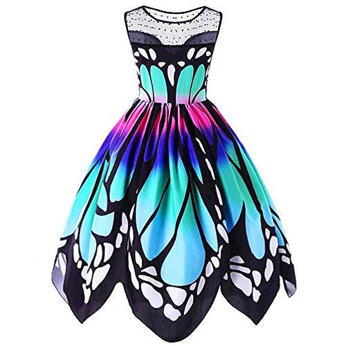 MIRRAY Damen Jahrgang Schmetterling Gedruckt Ärmellos Kleid Swing Spitzenkleid Kleider(A-Mehrfarbig,XXX-Large