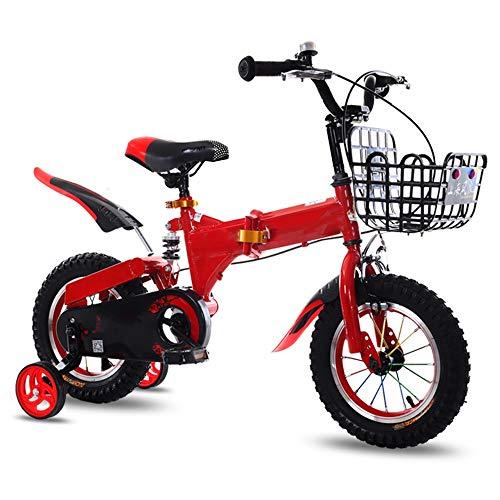 YUMEIGE Kinderfahrräder Jungenfahrrad mit Stützrädern für 12 14 16 18 Zoll Fahrrad, Kinderfahrrad 3 Farben Gurtkorb und Autoklingel (Color : Red, Size : 12in)