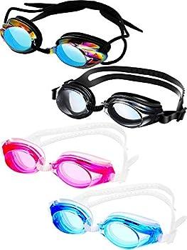 4 Pairs Triathlon Swim Goggles Swimming Goggles Anti Fog Shatterproof UV Protection Goggles Assorted Colors