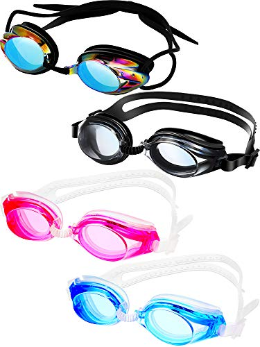 4 Pairs Triathlon Swim Goggles Swimming Goggles Anti Fog Shatterproof UV Protection Goggles Assorted Colors
