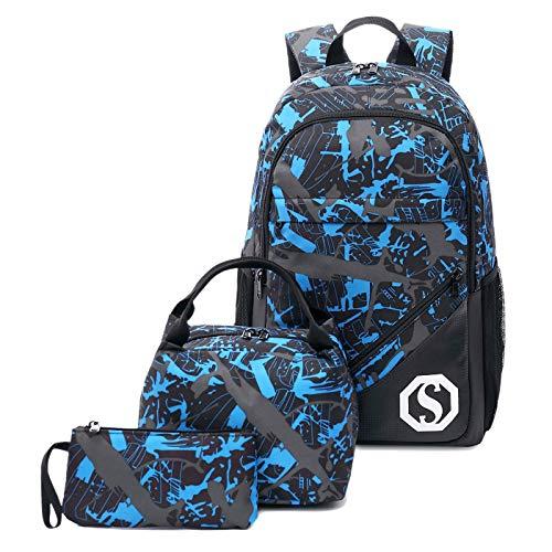 CAMTOP Teens Backpack for School Boys Girls School Bookbag Set Travel Daypack (Black/graffiti)