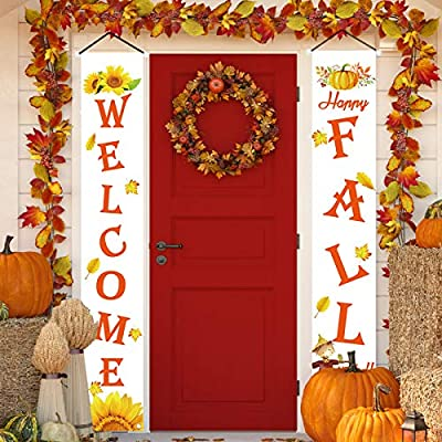 Amazon - Save 50%: Thanksgiving Decorations – Welcome Fall Porch Banners Harvest Signs – Pumpkin…
