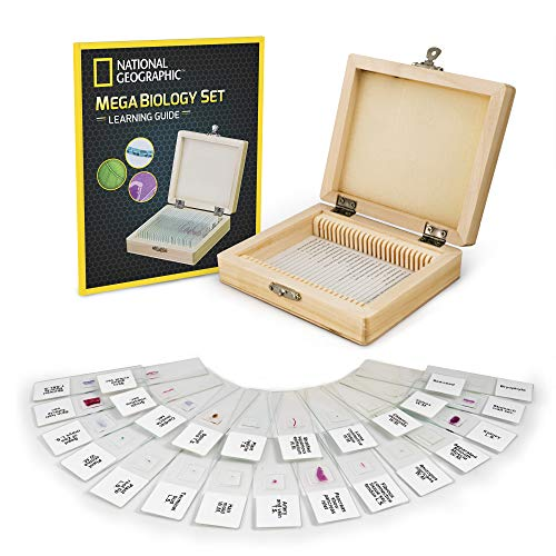 NATIONAL GEOGRAPHIC Mega Biology Set - Professional Grade Specimens, 25 Prepared Microscope Slides, Detailed Learning Guide and Storage Box