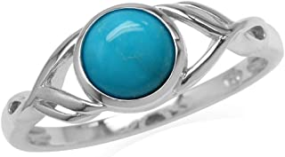7mm Genuine Round Arizona Turquoise White Gold Plated 925 Sterling Silver Casual Solitaire Ring