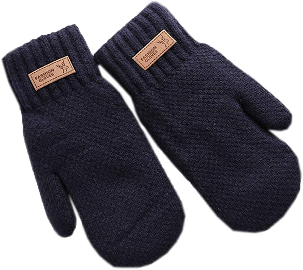 Men Knitting Wool Gloves Winter Cycling Cold Weather Gloves Full Finger Warm Gloves