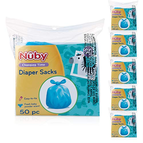 Nuby Diaper Disposable Bags, Fresh Baby Powder Scent, 6 Pack (50 Count...