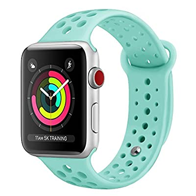 Pedfsy for Apple Watch Band 38mm 42mm, Breathable Soft Silicone Sport Strap Replacement Wristband Bracelet for iWatch Apple Watch Sport, Series 1, 2, 3, Sport