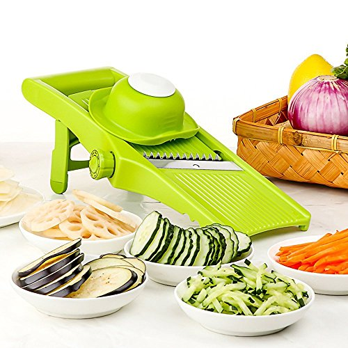 Mandoline Slicer - Lame ajustable fine à tranches épaisses et julienne, coupe-légumes, râpe et trancheuse pour légumes, pommes de terre, tomates, oignons, fromage(Vert&Léger)