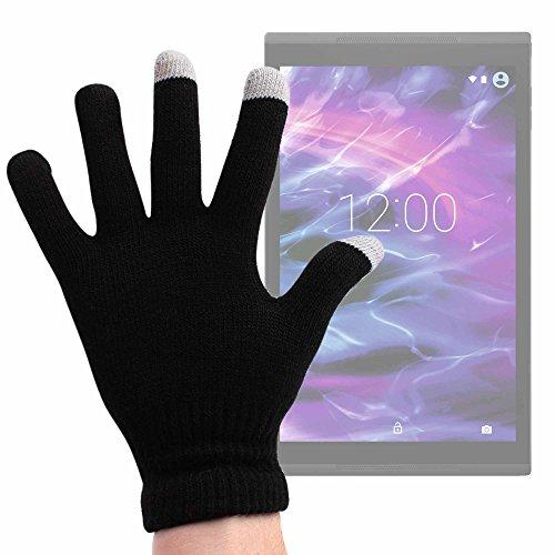 DURAGADGET Guantes Negros para Pantalla Táctil para Tablet Medion Akoya E1239T (MD 60791), Medion LifeTab P9701 (MD 60384) - Talla Grande - ¡Ideales para El Invierno