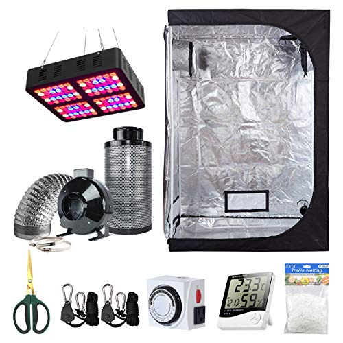 BloomGrow 48''x24''x72'' Grow Tent + 6'' Fan Filter Duct Combo + 600W LED Light + Hangers + Hygrometer + Shears + 24 Hour Timer + Trellis Netting Indoor Grow Tent Complete Kit