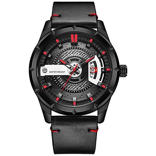 WNGJ Relojes, Relojes de Cuarzo Deportes al Aire Libre, Relojes de Hombre Multifuncional de Cuero a Prueba de Agua, Relojes Deportivos Luminosos de Moda Juveniles, envase Red