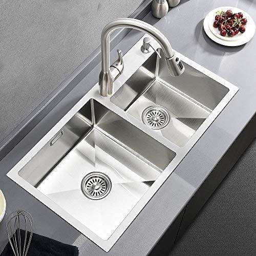 Best Commercial 30Inch 16 Gauge Stainless Steel Double Bowl Kitchen Sink, 304 Stainless Steel Undermount Kitchen Sink
