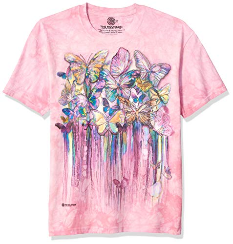The Mountain Rainbow Butterflies Adult T-Shirt, Pink, Large