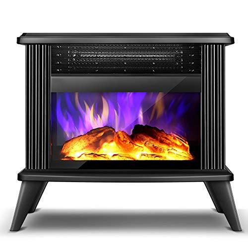 XLNB Freistehende elektrische Kaminheizung mit echtem Flammeneffekt, elektrischer Kaminofen mit ewiger Flamme, Temperatureinstellung, Überhitzungsschutz, 2000W