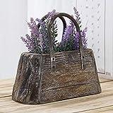MyGift Decorative Tote Handbag-Shaped Vintage Brown Wood Flower Pot/Storage Container