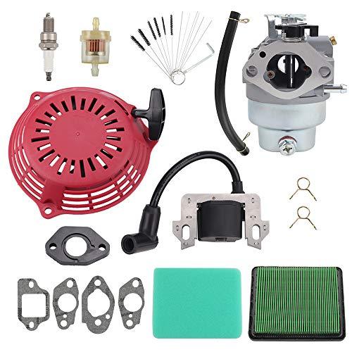 Mengxiang GCV160 Carburetor for Honda GCV160A GCV160LA HRB216 HRR216 HRT216 HRZ216 HRR216VXA Lawn Mower 16100-Z0L-023 with 30500-Z0J-003 Ignition Coil 28400-Z0L-V20ZB Recoil Pull Starter