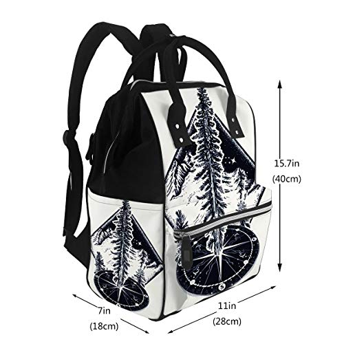 Diaper Backpack Bags Pine Tree and Compass Tattoo Symbol of Tourism Forest Rock Climbing Camping Fir Art Sh Travel Nappy Bags