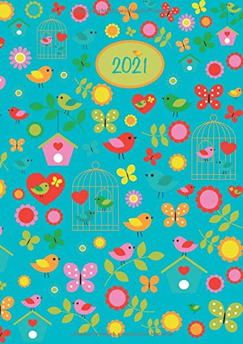 2021: 2021 Dicker Kalender – BIRDS blau / VÖGEL – Spiralbindung – pro Tag eine volle DIN A4 Seite Platz – Tageskalender | Bürokalender | ... | TageBuch-Kalender | KITA-Kalender