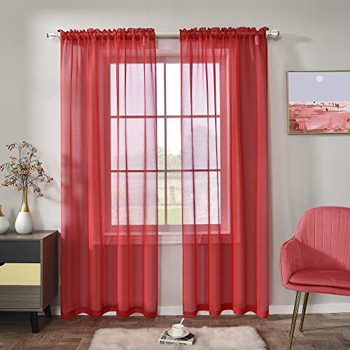Red Semi Sheer Curtains Faux Linen Sheer Window Curtain Panels Drapes 84 Inch Length with Rod Pocket for Living Room Girls Kids Room Bedroom 2 Panels 52 x 84 Inches Long Christmas Red