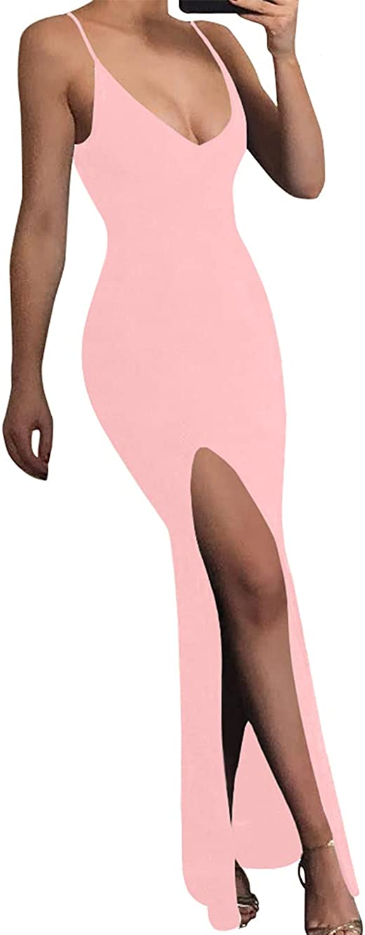 TOB Women's Sexy Bodycon Sleeveless Spaghetti Strap V-Neck Evening Long Dress