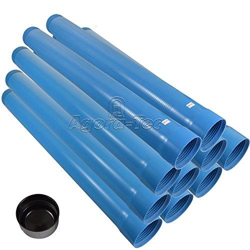 Agora-Tec® 4 Zoll DN 100 Brunnenrohr - Set (10 Meter) mit 8 Meter Vollwandrohr, Endkappe und 2 Meter Filterrohr mit Einer (Schlitzweite: 0.75mm)