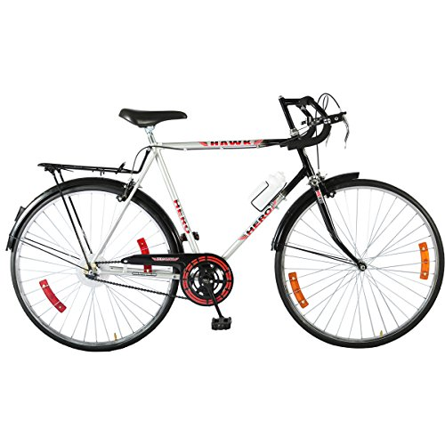 Hero Hawk Nuage 27T Single Speed Hybrid Bike (Black Silver, Ideal For : 12+ Years )